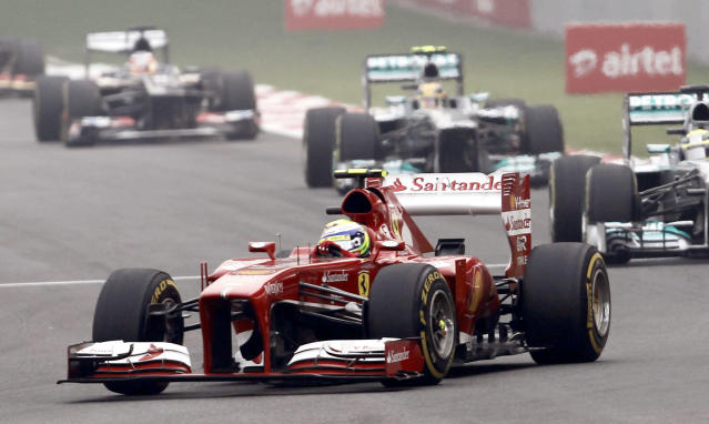 Ferrari Formula One driver Felipe Massa of Brazil drives during the Indian F1 Grand Prix at the Buddh International Circuit in Greater Noida, on the outskirts of New Delhi, October 27, 2013. REUTERS/Adnan Abidi (INDIA - Tags: SPORT MOTORSPORT F1)
