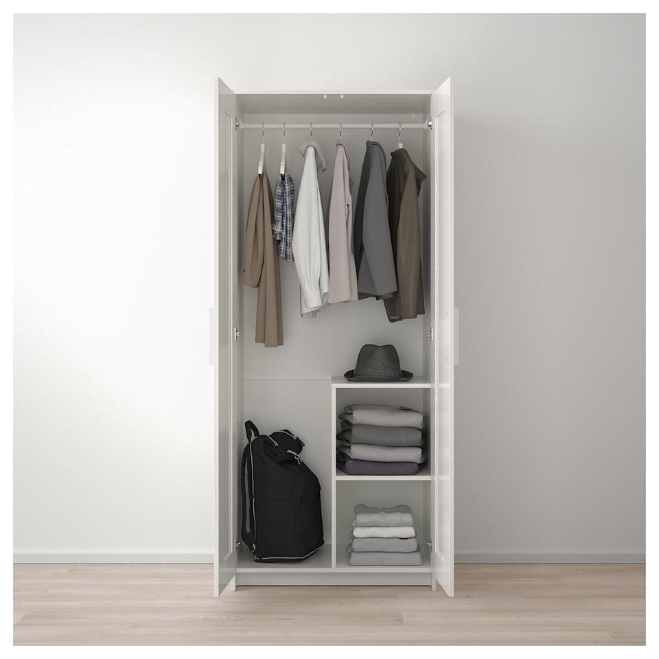 <p>The <span>Brimnes Wardrobe</span> ($129) has handy compartments to make organizing your closet a breeze!</p>