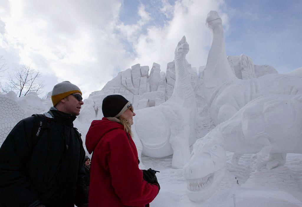 People enjoy the Sapporo Snow Festival in Sapporo, Japan.