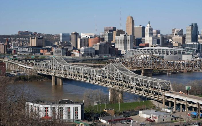 President Biden has announced an ambitious $2 trillion infrastructure plan that would pump huge sums of money into improving the nations bridges, including Brent Space Bridge in Cincinnati - AFP