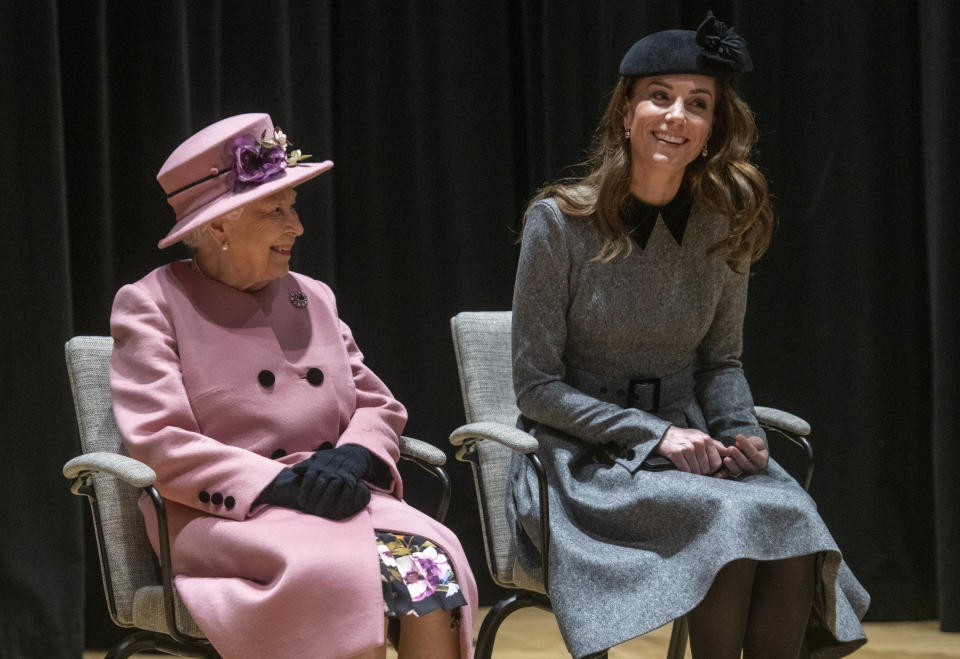LONDON, ENGLAND - MARCH 19: Queen Elizabeth II and Catherine, Duchess of Cambridge visit King's College to officially open Bush House, the latest education and learning facilities on the Strand Campus on March 19, 2019 in London, England. (Photo by Paul Grover - WPA Pool/Getty Images)