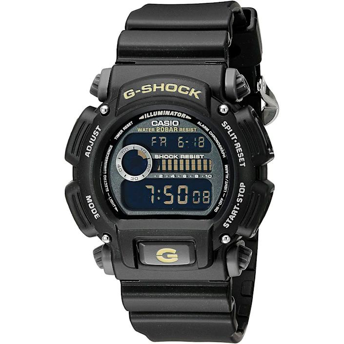 """<p><strong>G-Shock</strong></p><p>amazon.com</p><p><strong>$58.35</strong></p><p><a href=""""https://www.amazon.com/dp/B00BIP75L8?tag=syn-yahoo-20&ascsubtag=%5Bartid%7C10054.g.35351418%5Bsrc%7Cyahoo-us"""" rel=""""nofollow noopener"""" target=""""_blank"""" data-ylk=""""slk:Shop Now"""" class=""""link rapid-noclick-resp"""">Shop Now</a></p><p>More functions than you'll ever need and so durable you'll never break it. It's the definitional overbuilt watch, and it's barely more than 50 bucks.</p>"""