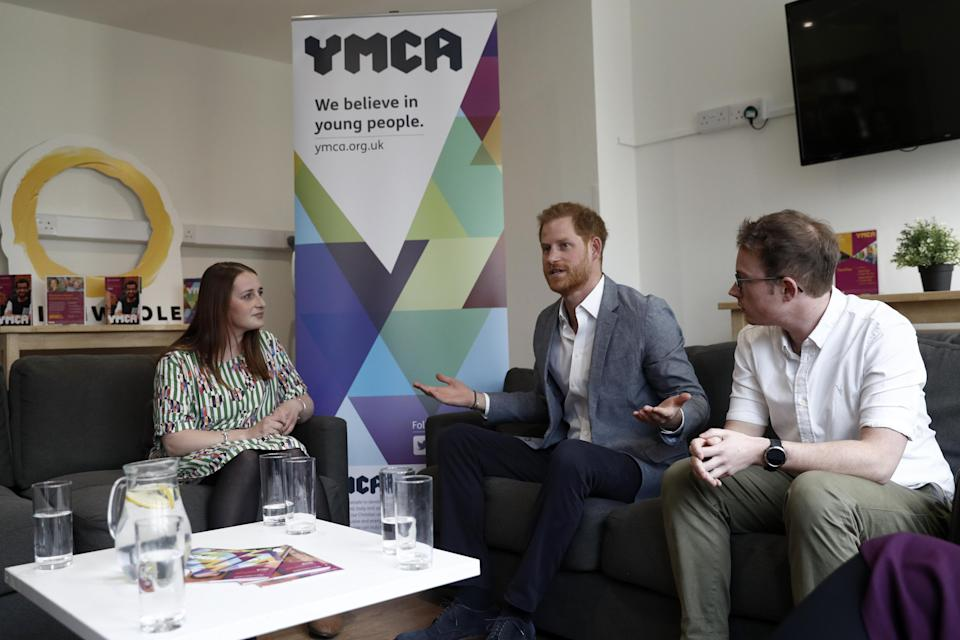 Harry chats with the Youth Ambassadors Mental Health Champions at YMCA South Ealing last week [Photo: PA]