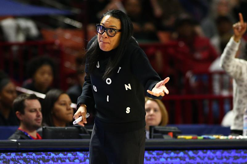 Greenville, SC, USA; South Carolina Gamecocks head coach Dawn Staley gives instructions during the first half against the Georgia Lady Bulldogs at Bon Secours Wellness Arena. Mandatory Credit: Jeremy Brevard-USA TODAY Sports