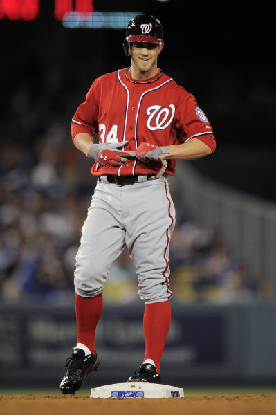 Washington Nationals' Bryce Harper stands on second after hitting a double during the seventh inning of their baseball game against the Los Angeles Dodgers, Saturday, April 28, 2012, in Los Angeles. (AP Photo/Mark J. Terrill)