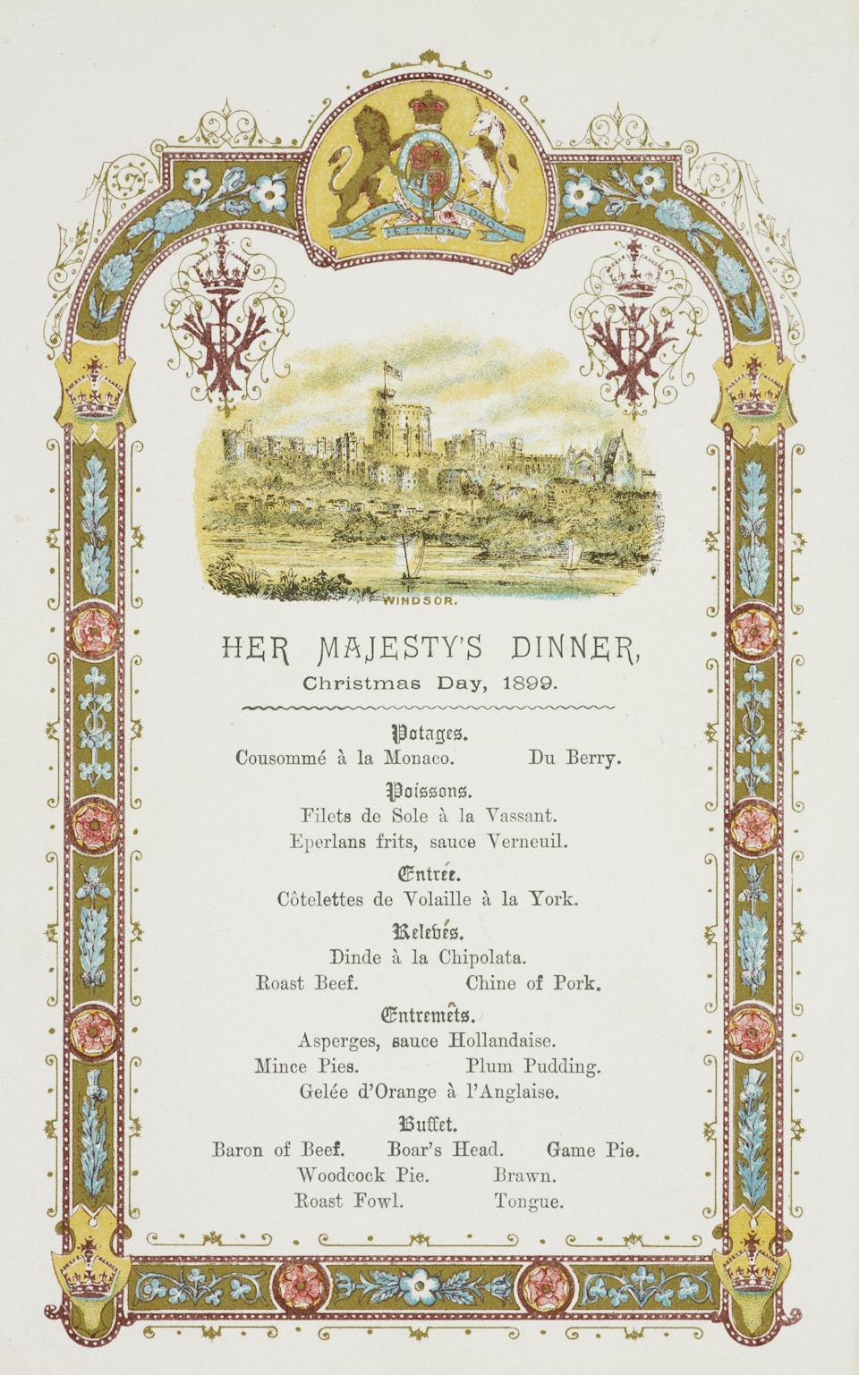 Menu for Queen Victoria's dinner, Christmas Day, 1899 (Royal Archives / © Her Majesty Queen Elizabeth II 2018)