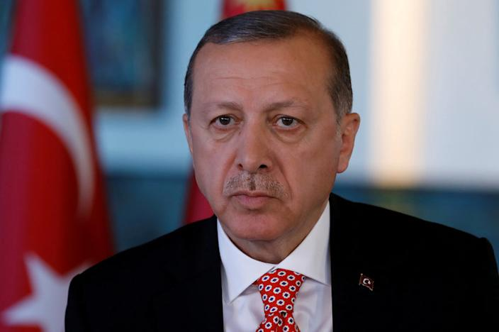 FILE PHOTO: Turkish President Tayyip Erdogan attends an interview with Reuters at the Presidential Palace in Ankara, Turkey, April 25, 2017. REUTERS/Umit Bektas/File Photo