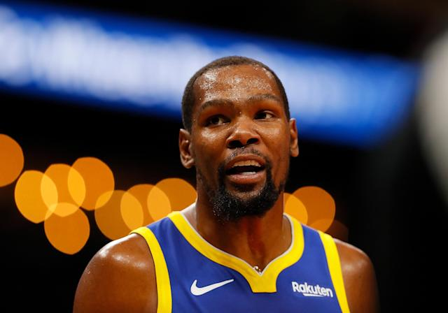"Kevin Durant got viciously trolled with ""Draymond hates you"" chants during the Warriors-Hawks game. (Photo by Kevin C. Cox/Getty Images)"