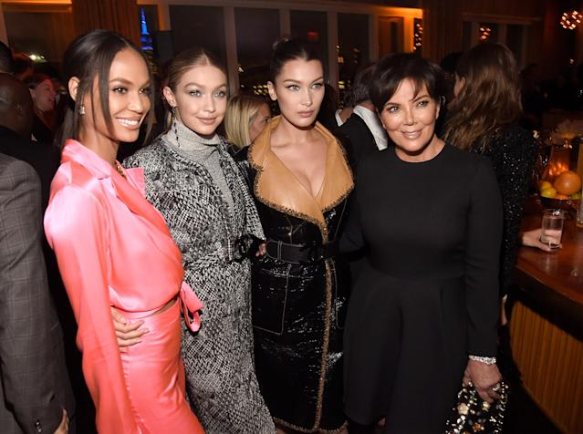 Joan Smalls, Gigi Hadid, Bella Hadid, and Kris Jenner attend V magazine's dinner in honor of Karl Lagerfeld in NYC on Oct. 23. (Photo: Kevin Mazur/Getty Images for V magazine)