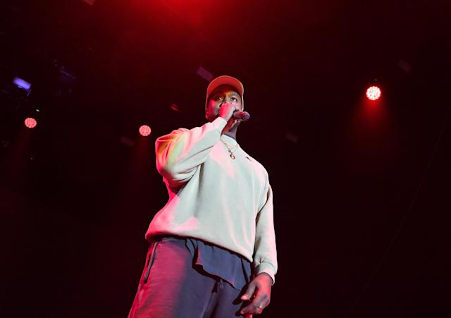 Kanye West onstage at adidas Creates 747 Warehouse St., Feb. 17, 2018, in Los Angeles. (Photo: Neilson Barnard/Getty Images for adidas)