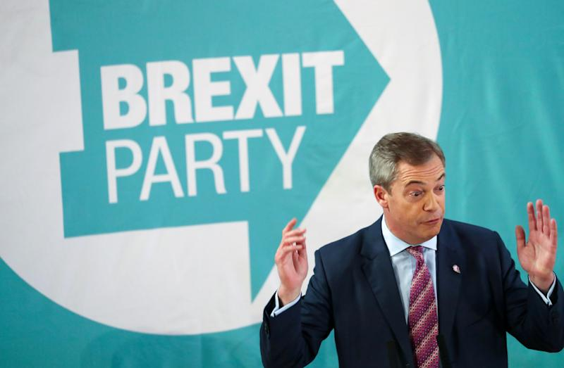 Brexit Party leader Nigel Farage at a general election campaign event in Hartlepool yesterday. (REUTERS/Scott Heppell)