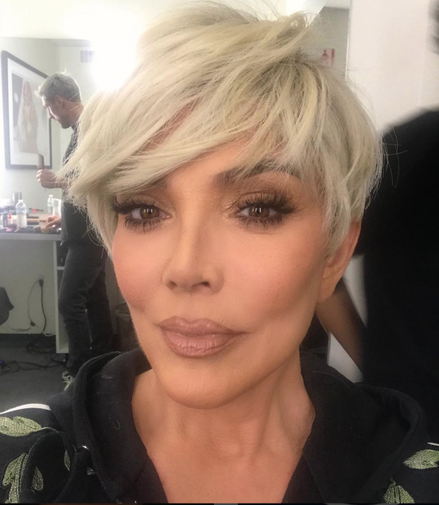 <p>Jenner just might be aging backward with chic new platinum blond hair. (Photo: Instagram/Kris Jenner) </p>