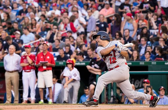 <p>Rep. Raul Ruiz, D-Calif., takes a swing during the annual Congressional Baseball Game at Nationals Park in Washington on Thursday, June 15, 2017. (Photo: Bill Clark/CQ Roll Call/Getty Images) </p>