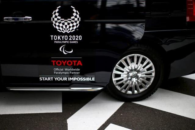 A Toyota logo, Worldwide Sponsor for Tokyo 2020 Olympic Games, is pictured on a taxi in Tokyo