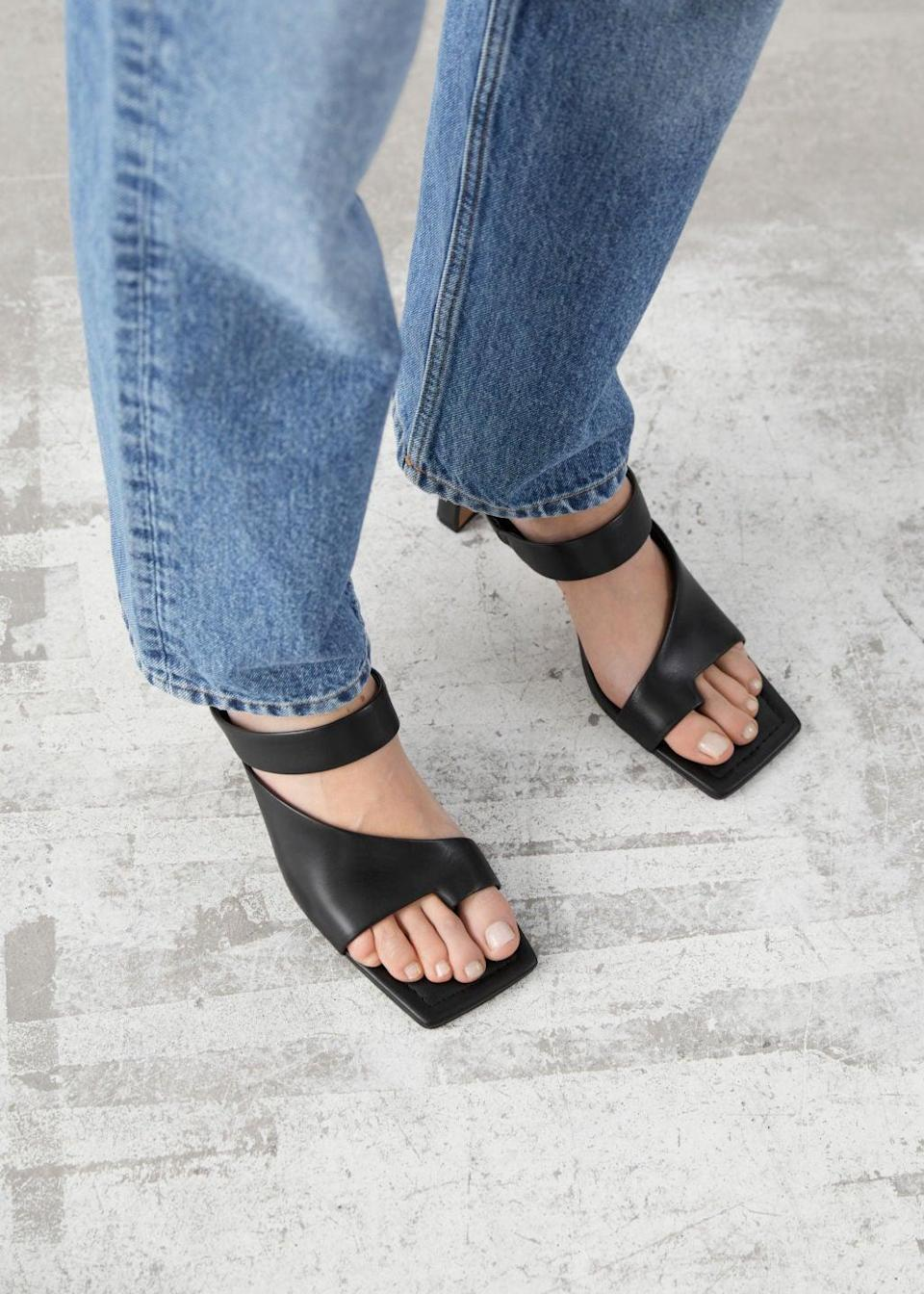 """<br><br><strong>& Other Stories</strong> Square Toe Heeled Leather Sandals, $, available at <a href=""""https://go.skimresources.com/?id=30283X879131&url=https%3A%2F%2Fwww.stories.com%2Fen_usd%2Fshoes%2Fheeled-sandals%2Fproduct.square-toe-heeled-leather-sandals-black.0934936001.html"""" rel=""""nofollow noopener"""" target=""""_blank"""" data-ylk=""""slk:& Other Stories"""" class=""""link rapid-noclick-resp"""">& Other Stories</a>"""