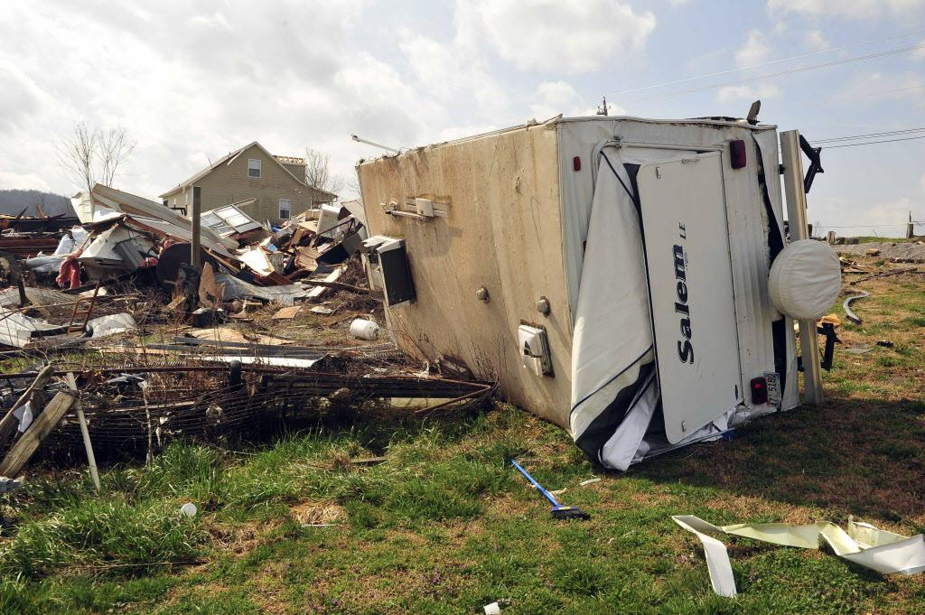 A trailer overturned on 426 Yarbrough Road after severe weather  hit   the northern part of Madison county Friday,  March 2, 2012 in Huntsville, Ala.  Advanced Technologies Group Inc. (AP PhotoThe Huntsville Times, Eric Schultz)