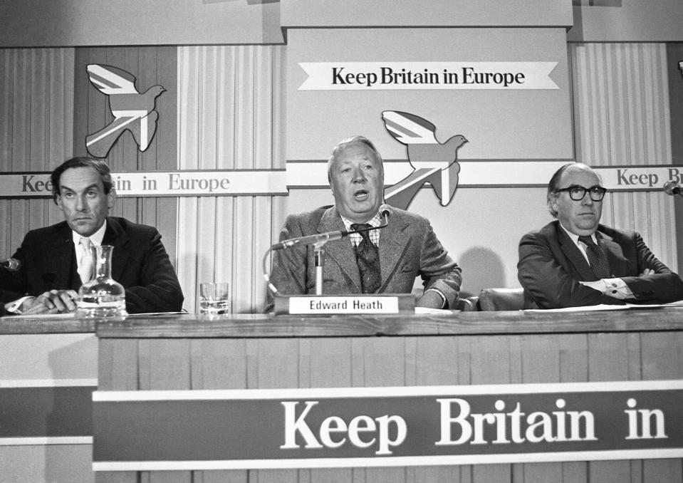 FILE - In this May 13, 1975 file photo, Edward Heath, former leader of the Conservative Party, center, with Jeremy Thorpe, leader of the Liberal Party, left, and Roy Jenkins, the Labour Party's Home Secretary at the first Britain in Europe press conference at the Waldorf Hotel in London. Eleven months after Britain's formal departure from the EU, Brexit becomes a fact of daily life on Friday, Jan. 1, 2021. Brexit marks the end of an awkward relationship. Britain joined the then-European Economic Community in 1973, but never fully embraced the bloc's project of ever-closer integration. (AP Photo, File)