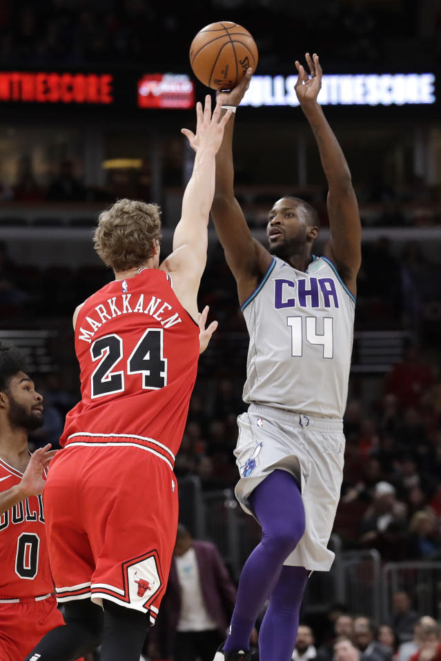 Charlotte Hornets forward Michael Kidd-Gilchrist, right, shoots over Chicago Bulls forward Lauri Markkanen during the first half of an NBA basketball game Friday, Dec. 13, 2019, in Chicago. (AP Photo/Nam Y. Huh)