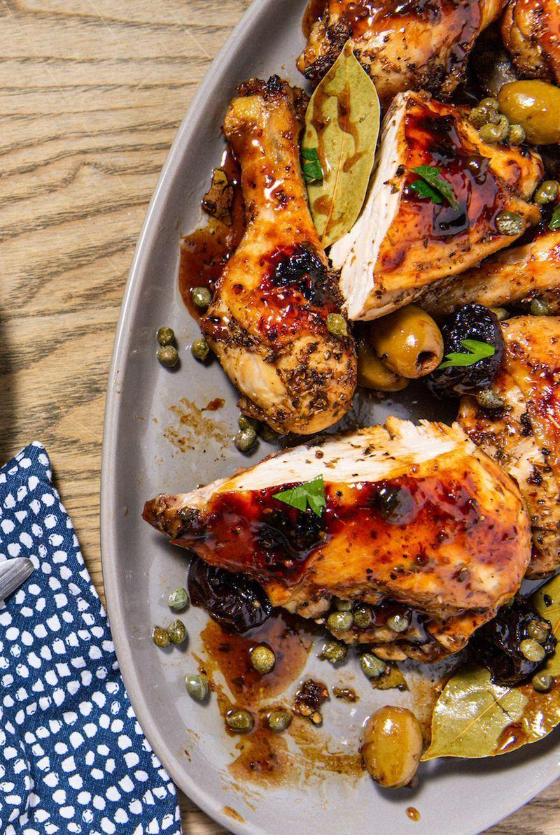 """<p>A nostalgic classic for many, <a href=""""https://www.delish.com/uk/chicken-recipes/"""" rel=""""nofollow noopener"""" target=""""_blank"""" data-ylk=""""slk:chicken"""" class=""""link rapid-noclick-resp"""">chicken</a> Marbella is briny, piquant, and incredibly flavourful. The chicken is tenderised (and flavoured by) a marinade dotted with prunes, olives, capers, and herbs. Serve on top of rice or potatoes. No matter what you serve it with, this classic dish is sure to impress.</p><p>Get the <a href=""""https://www.delish.com/uk/cooking/recipes/a30712736/chicken-marbella-recipe/"""" rel=""""nofollow noopener"""" target=""""_blank"""" data-ylk=""""slk:Chicken Marbella"""" class=""""link rapid-noclick-resp"""">Chicken Marbella</a> recipe.</p>"""