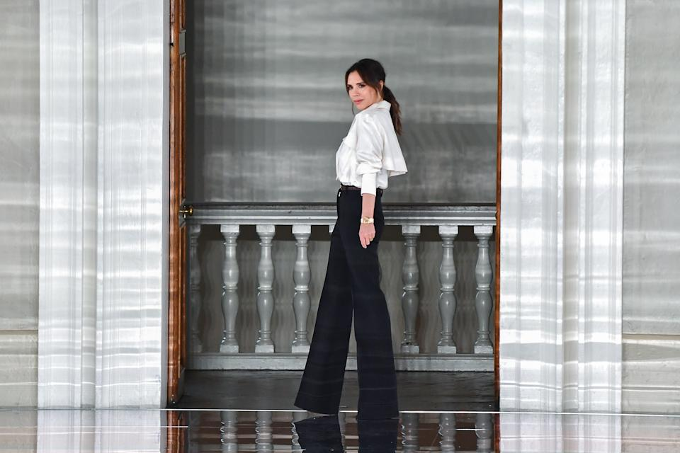 The fashion designer made an appearance on the catwalk after unveiling her Autumn/ Winter 2020 collection at the Banqueting House [Image: Getty]