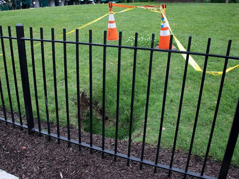 A sinkhole has opened the North Lawn of the White House (Rex)