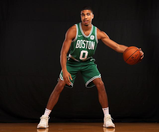 """<a class=""""link rapid-noclick-resp"""" href=""""/ncaab/players/136029/"""" data-ylk=""""slk:Jayson Tatum"""">Jayson Tatum</a> could have a tough time finding fantasy relevance in his first year with the <a class=""""link rapid-noclick-resp"""" href=""""/nba/teams/bos/"""" data-ylk=""""slk:Boston Celtics"""">Boston Celtics</a>. (Photo by Elsa/Getty Images)"""