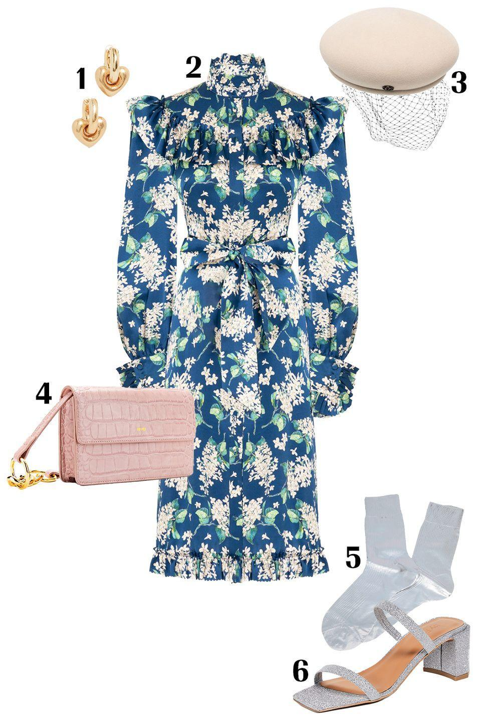 """<p>When we are <em>finally</em> able to dress up for special occasions, I, for one, will be opting for an outfit that speaks to the fact that we have all been wearing loungewear for a full year. Pack on ruffles, florals, glitter, and metallics. Don't stop there—if you're really looking to make a statement, add on a beret with a lace-veil overlay for that added whimsical aesthetic. </p><p>Shop the pieces:<em> <strong>1.</strong> </em><em><a href=""""https://www.shopbop.com/puffy-heart-hoop-madewell/vp/v=1/1588183958.htm?"""" rel=""""nofollow noopener"""" target=""""_blank"""" data-ylk=""""slk:Madewell Heart Hoops"""" class=""""link rapid-noclick-resp"""">Madewell Heart Hoops</a></em><em>,</em> $24; <strong>2.</strong> <em><a href=""""https://www.modaoperandi.com/women/p/the-vampire-s-wife/the-revelation-bow-detailed-silk-dress/482384"""" rel=""""nofollow noopener"""" target=""""_blank"""" data-ylk=""""slk:Vampire's Wife Dress"""" class=""""link rapid-noclick-resp"""">Vampire's Wife Dress</a></em>, $1,695; <strong>3.</strong> <em><a href=""""https://www.farfetch.com/shopping/women/maison-michel-new-bonnie-lace-veil-beret-item-16009420.aspx?storeid=9592"""" rel=""""nofollow noopener"""" target=""""_blank"""" data-ylk=""""slk:Maison Michele Beret"""" class=""""link rapid-noclick-resp"""">Maison Michele Beret</a></em>, $675; <strong>4.</strong> <em><a href=""""https://www.jwpei.com/products/julia-acrylic-chain-crossbody-bag-pink-croc?_pos=5&_sid=d4ee6f2d7&_ss=r"""" rel=""""nofollow noopener"""" target=""""_blank"""" data-ylk=""""slk:JW PEI Crossbody Bag"""" class=""""link rapid-noclick-resp"""">JW PEI Crossbody Bag</a></em> $45; <strong>5.</strong> <em><a href=""""https://www.yoox.com/US/48234541LW/item?#cod10=48234541LW&sizeId=1&sizeName=ONESIZE"""" rel=""""nofollow noopener"""" target=""""_blank"""" data-ylk=""""slk:Maria La Rosa Socks"""" class=""""link rapid-noclick-resp"""">Maria La Rosa Socks</a></em>, $49, <strong>6.</strong> <a href=""""https://www.shopbop.com/tanya-sandals-by-far/vp/v=1/1514554367.htm?"""" rel=""""nofollow noopener"""" target=""""_blank"""" data-ylk=""""slk:By Far Sandals"""" class=""""link rapid-noclick-resp""""><em>By F"""