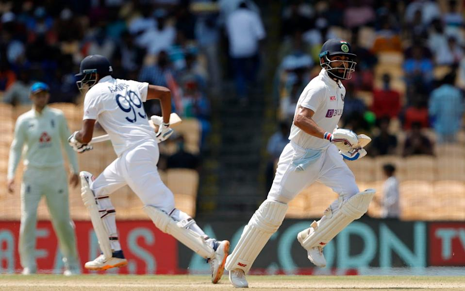 Virat Kohli(Captain) of India and Ravichandran Ashwin of India taking a single during day three of the second PayTM test match between India and England held at the Chidambaram Stadium in Chennai, Tamil Nadu, India on the 15th February 2021 - Saikat Das / Sportzpics for BCCI
