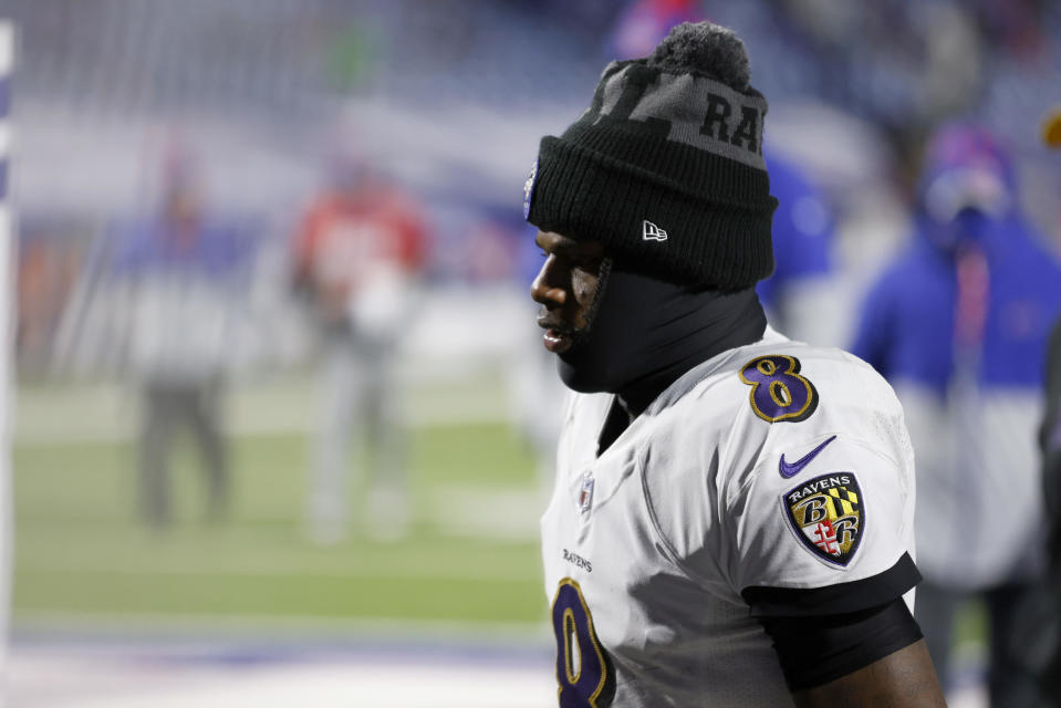 Lamar Jackson seen January 16, 2021, in Orchard Park, New York. / Credit: Getty Images