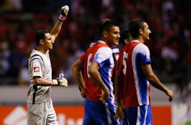 SAN JOSE, COSTA RICA - SEPTEMBER 06: Goalkeeper Keylor Navas #1 reacts after Costa Rica's 3-1 win over the United States during the FIFA 2014 World Cup Qualifier at Estadio Nacional on September 6, 2013 in San Jose, Costa Rica. (Photo by Kevin C. Cox/Getty Images)