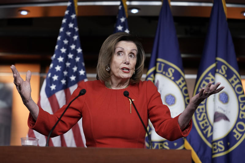 Speaker of the House Nancy Pelosi, D-Calif., meets with reporters on the morning after the House of Representatives voted to impeach President Donald Trump on charges of abuse of power and obstruction of Congress, at the Capitol in Washington, Wednesday, Dec. 18, 2019. Pelosi refused to say Wednesday when she'll send the impeachment articles against Trump to the Senate for the trial. (AP Photo/J. Scott Applewhite)