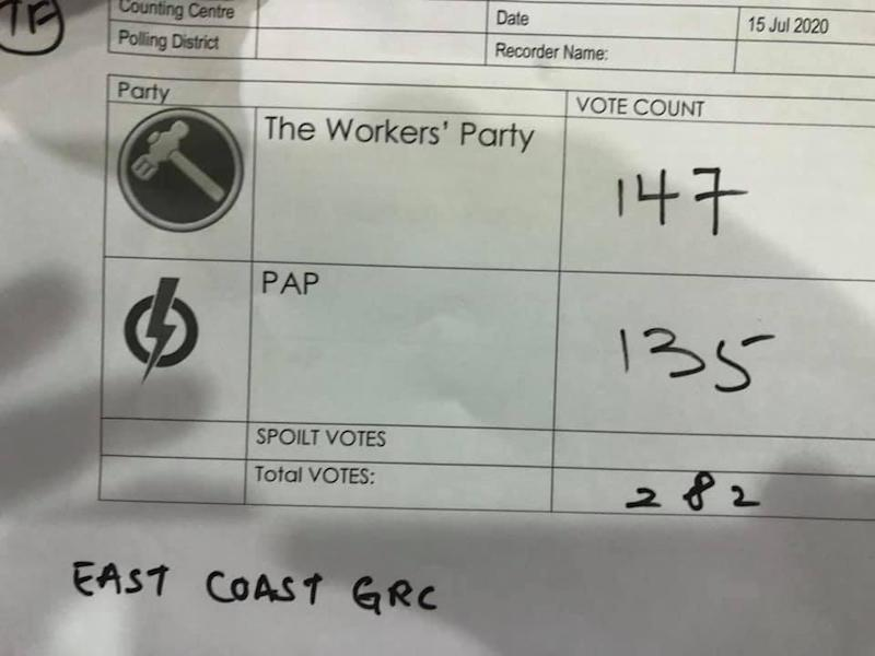 PHOTO: Workers' Party members witness the overseas ballot count for GE2020 at the Elections Department Training Centre on 15 July 2020. (PHOTO: WP's Terence Tan/Facebook)