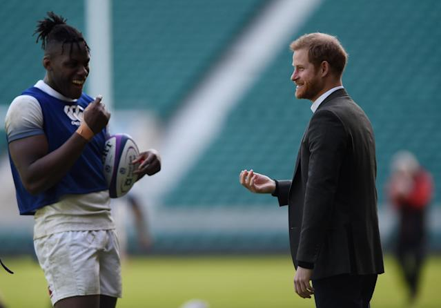 Rugby Union - England Training - Twickenham Stadium, London, Britain - February 16, 2018 Britain's Prince Harry talks to Maro Itoje at the training session Action Images via Reuters/Adam Holt