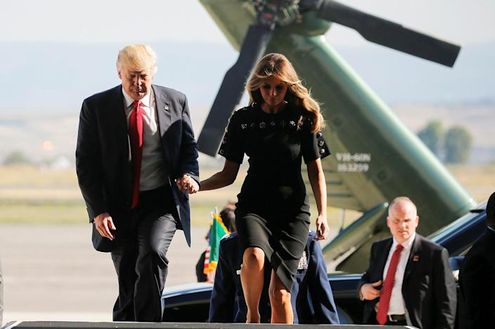 <p>President Donald Trump and first lady Melania Trump hold hands as they arrive at the Naval Air Station Sigonella to visit U.S. troops before returning to Washington D.C. at Sigonella Air Force Base in Sigonella, Sicily, Italy, May 27, 2017. (Photo: Jonathan Ernst/Reuters) </p>