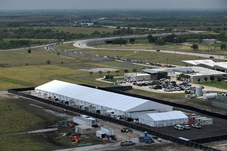 FILE PHOTO - U.S. Customs and Border Protection (CBP) temporary facilities for housing migrants are seen in Donna