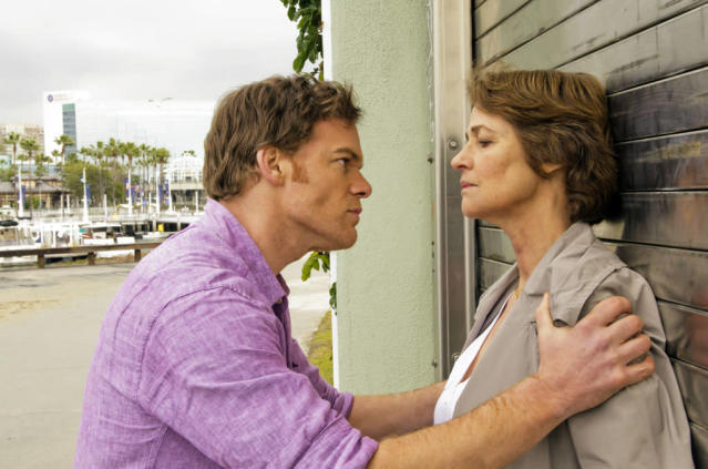 "Michael C. Hall as Dexter Morgan and Charlotte Rampling as Dr. Vogel in the ""Dexter"" Season 8 premiere, ""A Beautiful Day."""
