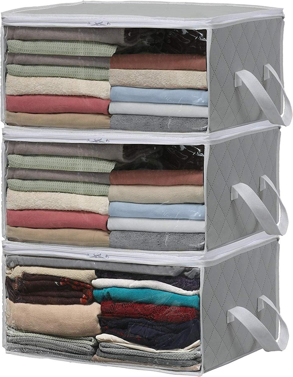 """<p>They may look soft, but the <a href=""""https://www.popsugar.com/buy/Simple%20Houseware%203-Pack%20Foldable%20Closet%20Organizers-465754?p_name=Simple%20Houseware%203-Pack%20Foldable%20Closet%20Organizers&retailer=amazon.com&price=15&evar1=casa%3Auk&evar9=46355519&evar98=https%3A%2F%2Fwww.popsugar.com%2Fhome%2Fphoto-gallery%2F46355519%2Fimage%2F46355559%2FSimple-Houseware-3-Pack-Foldable-Closet-Organizers&list1=college%2Corganization%2Cclosets%2Csmall%20spaces%2Ccloset%20organization%2Csmall%20space%20living%2Cdorms&prop13=api&pdata=1"""" rel=""""nofollow noopener"""" target=""""_blank"""" data-ylk=""""slk:Simple Houseware 3-Pack Foldable Closet Organizers"""" class=""""link rapid-noclick-resp"""">Simple Houseware 3-Pack Foldable Closet Organizers</a> ($15, originally $17) are surprisingly rigid and durable, making them perfect for both closet storage and travel.</p>"""