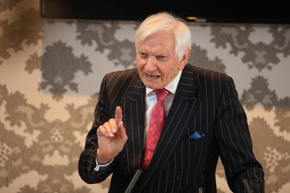 Former Conservative MP Harvey Proctor speaks during a press conference at the Malmaison hotel in Newcastle, after Carl Beech, the Westminster VIP paedophile accuser, was sentenced at Newcastle Crown Court, to 18 years for 12 counts of perverting the course of justice and one of fraud.