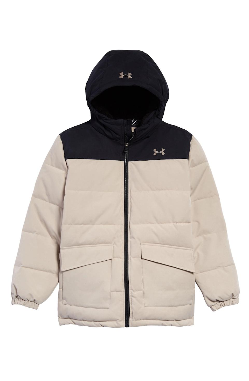 "<p><strong>UNDER ARMOUR</strong></p><p>nordstrom.com</p><p><strong>$73.70</strong></p><p><a href=""https://go.redirectingat.com?id=74968X1596630&url=https%3A%2F%2Fwww.nordstrom.com%2Fs%2Funder-armour-kids-magnus-water-repellent-puffer-parka-big-boy%2F5736373&sref=https%3A%2F%2Fwww.redbookmag.com%2Flife%2Fg34811477%2Fblack-friday-cyber-monday-baby-deals-2020%2F"" rel=""nofollow noopener"" target=""_blank"" data-ylk=""slk:Shop Now"" class=""link rapid-noclick-resp"">Shop Now</a></p><p>For minimal littles.</p>"