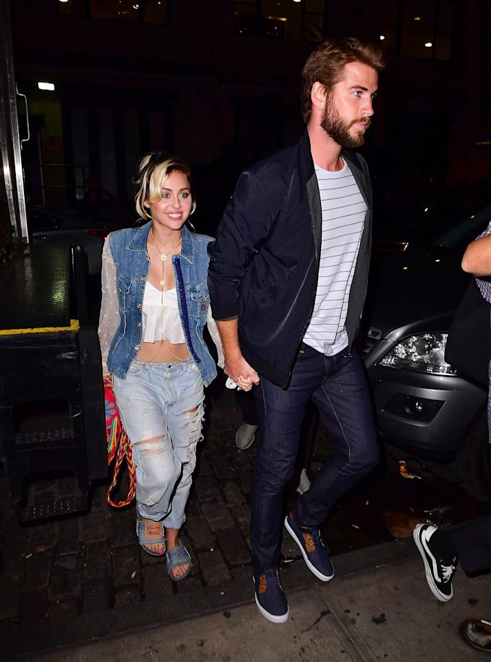 """<p>After more than two years, a lot of time has passed. Miley <a href=""""https://www.popsugar.com/celebrity/Miley-Cyrus-Kissing-Patrick-Schwarzenegger-Photos-36109300"""" class=""""ga-track"""" data-ga-category=""""Related"""" data-ga-label=""""http://www.popsugar.com/celebrity/Miley-Cyrus-Kissing-Patrick-Schwarzenegger-Photos-36109300"""" data-ga-action=""""In-Line Links"""">has a relationship with Patrick Schwarzenegger</a> in the interim. Then, she <a href=""""https://www.popsugar.com/celebrity/Miley-Cyrus-Liam-Hemsworth-Back-Together-2016-39845495"""" class=""""ga-track"""" data-ga-category=""""Related"""" data-ga-label=""""http://www.popsugar.com/celebrity/Miley-Cyrus-Liam-Hemsworth-Back-Together-2016-39845495"""" data-ga-action=""""In-Line Links"""">begins wearing a ring</a> that looks an awful lot like the ring Liam gave her. Rumor has it that <a href=""""https://www.popsugar.com/celebrity/Miley-Cyrus-Liam-Hemsworth-Back-Together-39638255"""" class=""""ga-track"""" data-ga-category=""""Related"""" data-ga-label=""""http://www.popsugar.com/celebrity/Miley-Cyrus-Liam-Hemsworth-Back-Together-39638255"""" data-ga-action=""""In-Line Links"""">the pair is back on</a>.</p>"""