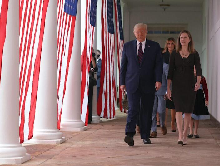 U.S. President Donald Trump arrives to introduce 7th U.S. Circuit Court Judge Amy Coney Barrett (R) as his nominee to the Supreme Court in the Rose Garden at the White House September 26, 2020 in Washington, DC. (Photo by Chip Somodevilla/Getty Images)