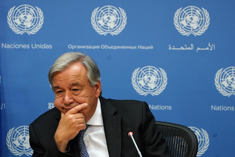 Secretary-General of the United Nations Antonio Guterres speaks to the press at United Nations headquarters in the Manhattan borough of New York, New York, U.S., September 18, 2019. REUTERS/Carlo Allegri