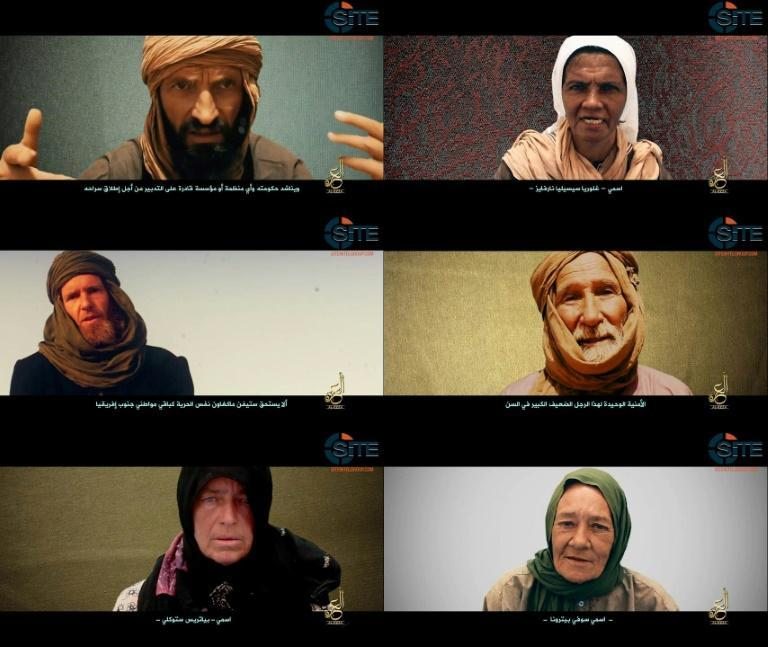Images from the video showing (from top left) Romanian Iulian Ghergut, Colombian nun Gloria Cecilia Narvaez Argoti, South African Stephen McGown, Australian surgeon Arthur Kenneth Elliott, Swiss missionary Beatrice Stockly and Frenchwoman Sophie Petronin