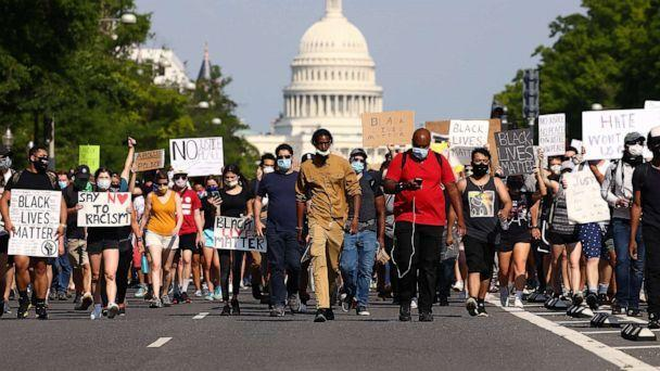 PHOTO: Demonstrators march down Pennsylvania Avenue during a protest against police brutality and the death of George Floyd, on June 3, 2020, in Washington, D.C. (Tasos Katopodis/Getty Images, FILE)