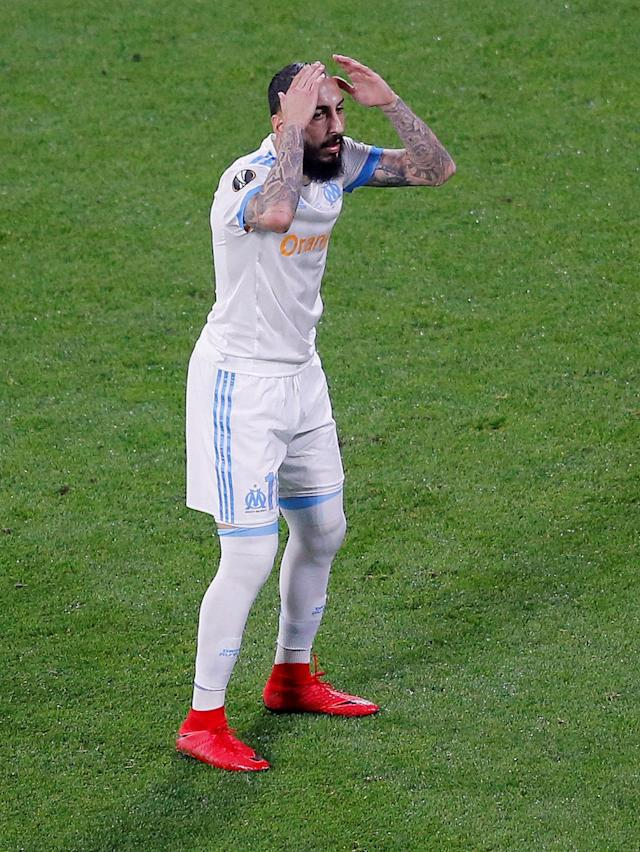 Soccer Football - Europa League Final - Olympique de Marseille vs Atletico Madrid - Groupama Stadium, Lyon, France - May 16, 2018 Marseille's Konstantinos Mitroglou reacts after missing a chance to score REUTERS/Vincent Kessler