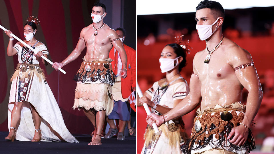 Pita Taufatofua, pictured here at the opening ceremony in Tokyo.