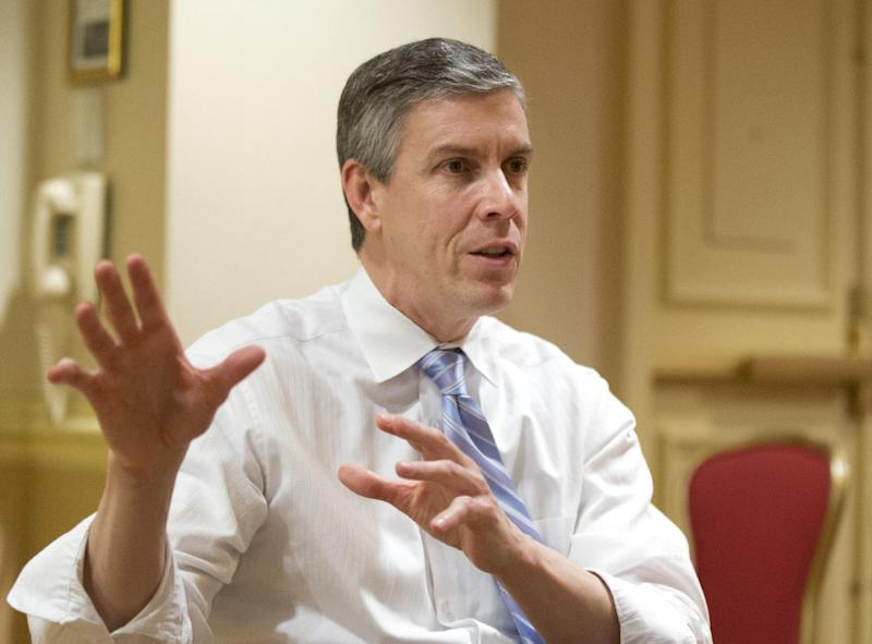 Education Secretary Arne Duncan, speaks to the Associated Press during an interview in Washington, Thursday, Jan. 17, 2013. Duncan says it's tough to prepare students for college when they're more worried about being killed than making it to graduation. (AP Photo/Manuel Balce Ceneta)