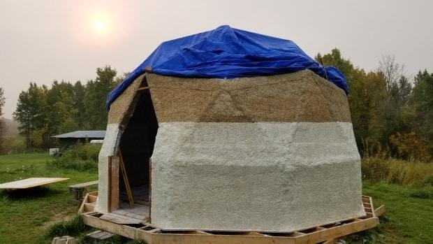 Christina Goodvin uses fibrous geothermal hempcrete blocks to insulate her tiny homes. (Submitted by Christina Goodvin - image credit)
