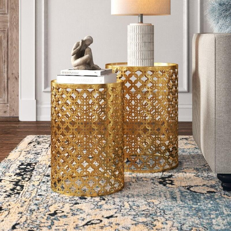 """<br><br><strong>Kelly Clarkson Home</strong> Juliet 2 Piece Drum Nesting Tables, $, available at <a href=""""https://go.skimresources.com/?id=30283X879131&url=https%3A%2F%2Ffave.co%2F3mvMP8O"""" rel=""""nofollow noopener"""" target=""""_blank"""" data-ylk=""""slk:Wayfair"""" class=""""link rapid-noclick-resp"""">Wayfair</a>"""