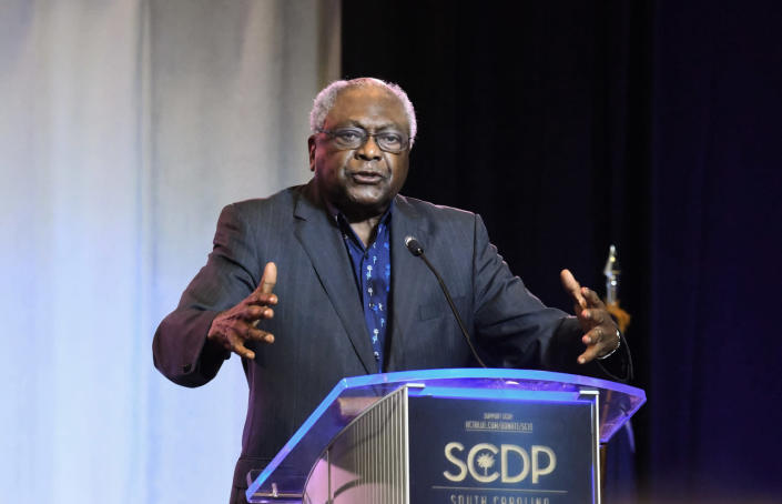 Majority Whip Jim Clyburn speaks at the opening of the South Carolina Democratic Party convention on Saturday, June 22, 2019, in Columbia, S.C. (AP Photo/Meg Kinnard)
